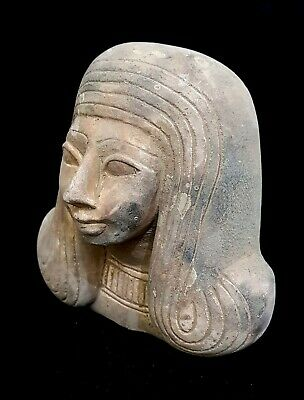 Hieroglyphic Mask Ancient Egyptian Antiquities Queen Coffin Sculpture Rare Bead