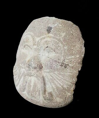 Rare Bes God Bust Egyptian Antiquities Unique Sex Icon Faience Stone Sculpture