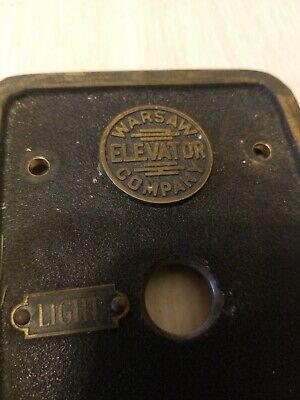 Antique Warsaw Elevator Company New York Controls Buttons Brass