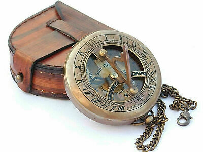 Pocket Compass Brass Push Button Sundial Chain Compass with Leather Case