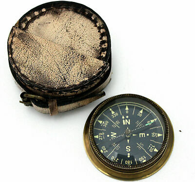 Pocket Compass Vintage Brass Admirality For French  with Leather case