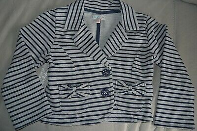 M&S Indigo Collection Girl's Age 6 Cotton Jersey Striped Jacket
