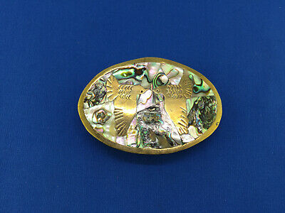 Vintage Belt Buckle Abalone/Mother of Pearl Brass Doves Peace Birds Mexico
