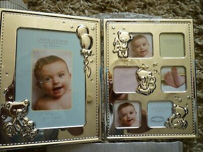 Hinged Silver Gilt Photo Frame Ideal Christening Gift - Impressions by Juliana