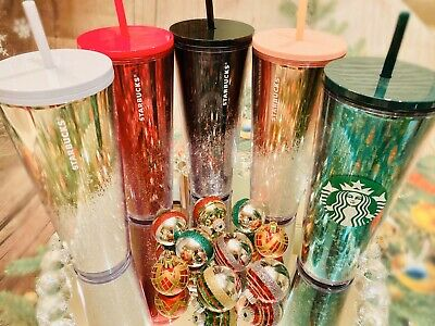 5 Starbucks 2019 Limited Edition Christmas Holiday Venti Glitter Tumbler Cup Set