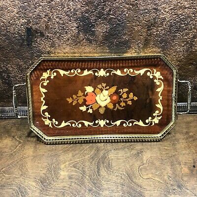 Vintage Wood Mid Century Serving Tray ~ Hollywood Regency ~ Brass Trim