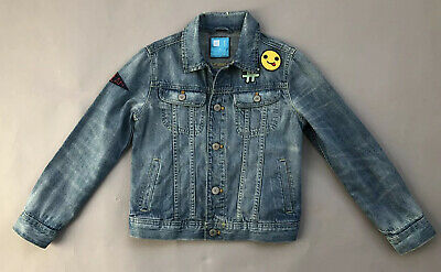 GAP KIDS Girls Denim Jacket With Emoji Hashtag Patches Size Medium 8/9yrs