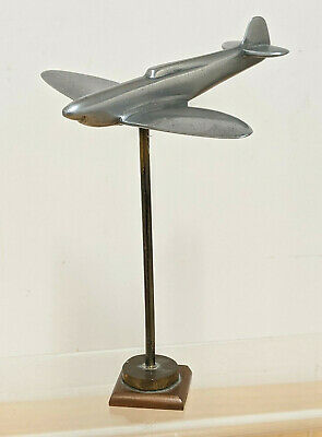 Vintage ART DECO Solid Chrome Mounted Plane On Brass Stand - Shelf Art 1930's