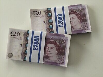 200  £20 Notes Realistic UK Pounds Movie Prop Money Look Like Real Stack Fake GB