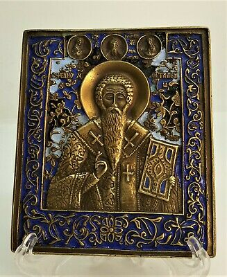 Russian orthodox bronze icon Saint martyr Antipas. Enameled!