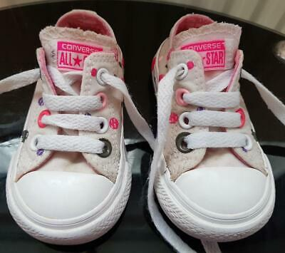 Girls, White Spotted  All Star Converse Shoes/Trainers Size 4, Eur 20