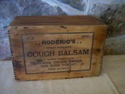 antique roderic's wild cherry cough balsam syrup wood crate box