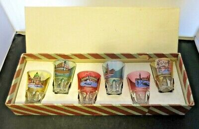 Vintage Venice Italy Landmarks and Icons Glass Shot Glasses Set of 6