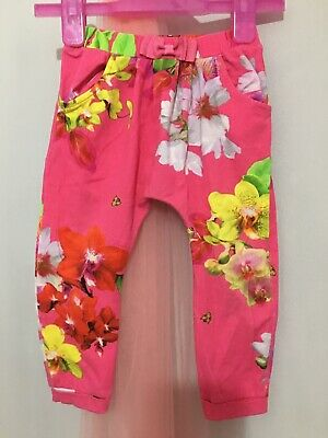 Baby Girls Designer Ted Baker Pink Floral Hareem Trousers 12-18m🎀 Playwear