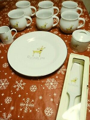 Pottery Barn Reindeer Rudolph  Large Mugs, Platter, Cream/Sugar, Pie/Cake Server