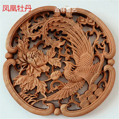 Old antique   HAND CARVED 凤凰牡丹 STATUE CAMPHOR WOOD ROUND PLATE WALL SCULPTURE