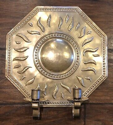 Repousse Antique SWEDEN BRASS WALL SCONCE by Torbjörn Testad Candle Holder 1890