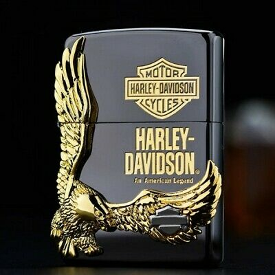 Black Ice Harley Davidson Great Gold Eagle Zippo Lighter - AU Shipping