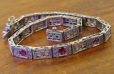 Vintage sterling silver ANTIQUE ART DECO 1920's FILIGREE RUBY FLAPPER bracelet