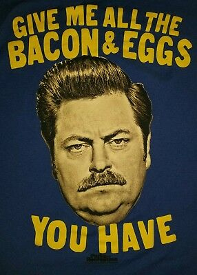 MEDIUM Ron Swanson T-shirt Parks And Recreation Give Me All The Eggs & Bacon rec