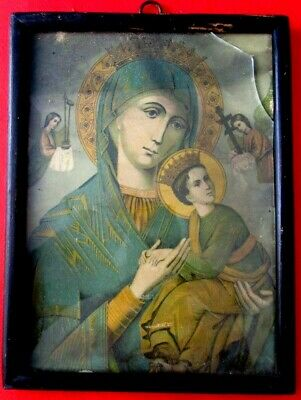 ANTIQUE 19c Old Vtg RUSSIAN ICON LITHOPRINT the Holy Virgin Mary