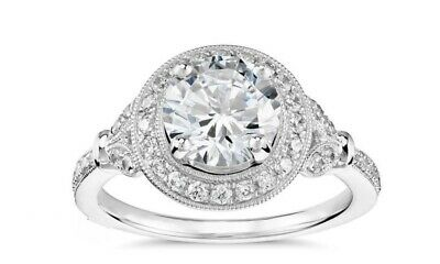 3.00ct Vintage Round-Cut Ancient Europe Halo Engagement Ring Sterling Silver 925