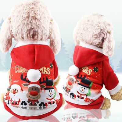 Small Pet Dog Christmas Santa Costume Puppy Coat Outfits Clothes Hoodie Jumper