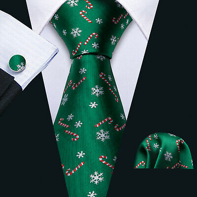 Barry Wang Mens Christmas Tie Set Green Red Candy Canes Snowflakes Necktie Hanky