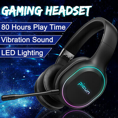 bluetooth LED Wireless Gaming Headset Microphone For PC Moblie Games NS XBOX ONE