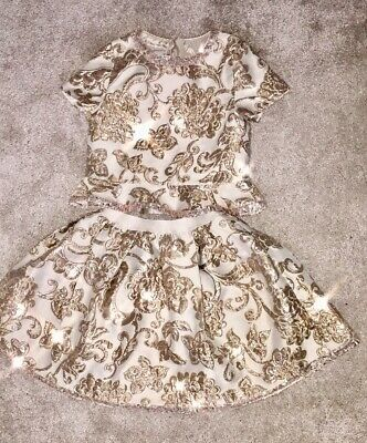 Stunning Girls Gold Glitter Sequin Monsoon Xmas Party Dress Outfit Age 7-8
