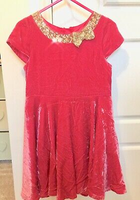 Beautiful Crushed Velvet Pink Sequin Xmas Party Dress From John Lewis Girls Age5