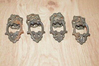 Antique Cast Iron Handles With Backing Plate X 4