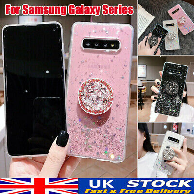 Case For Samsung S10 8 A10 70 50 Crystal Bling Glitter With Stand Holder Socket