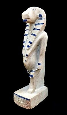 Ancient Egyptian Goddess Of Childbirth Taweret Hippo Hold Ankh Antique Statue