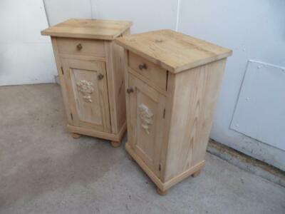 A Motif Pair of Antique/Old Pine Victorian Bedside Cabinets to Wax/Paint