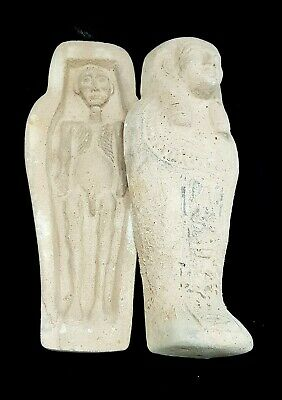 Coffin Hieroglyphic Mummy Egyptian Antiques Stone Bead Faience Unique Statuette