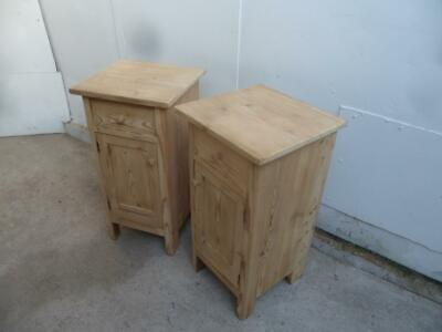 A Small Pair of Antique/Old Pine Victorian Bedside Cabinets to Wax/Paint
