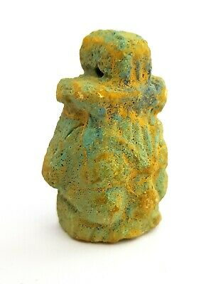 Bes Amulet Rare Necklace  Egyptian Antique Egypt Faience God Of Sex Talisman
