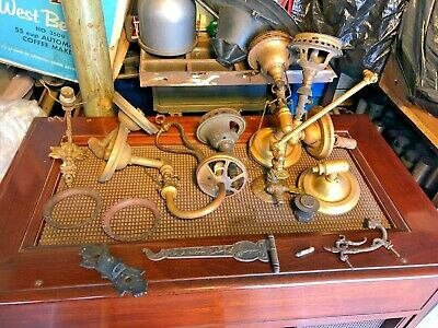 Large LOT Antique solid brass bronze gas wall sconces table lamps Glass shades +