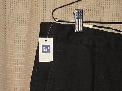 NWT new GAP mens 34 x 30 black cotton pants pleated relaxed fit