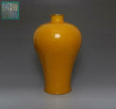 Fine Chinese Old Yellow Glaze Porcelain Vase With Qianlong Marked 35Cm (537)