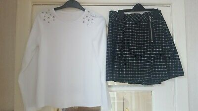 Girls White Top & Checked Skirt Age 9-10 Yrs
