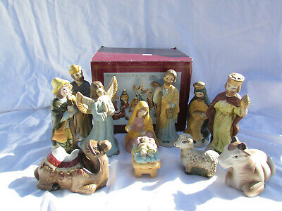 Nativity Hand Painted Porcelain 11 Piece Set Baby Jesus Mary Shepard Boy W/Box