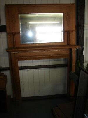 Antique Oak Fireplace Mantle with Shelves & Beveled Mirror - Refinished - Nice
