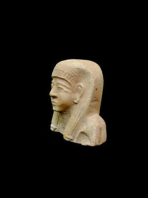 Hieroglyphic Bust Ancient Egyptian Antiquities Queen Coffin Amulet Rare Bead