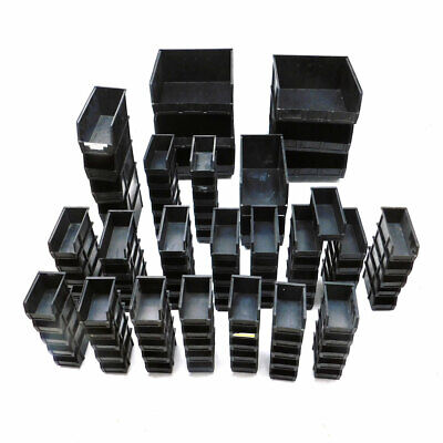 (Mixed Lot Of 101) Olympic Stackable Storage Containers Black Various Sizes