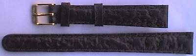 Ladies 12mm Dark Brown Leather Watch Strap / Band - Gold Coloured Buckle - NEW