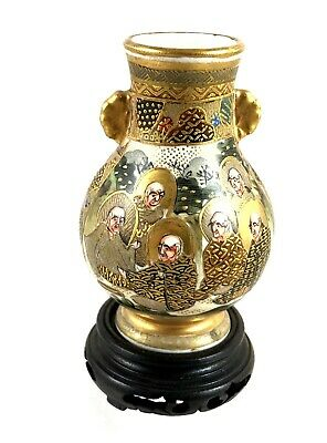 Antique Oriental Satsuma Miniature Vase On Wooden Plinth Marked To Base