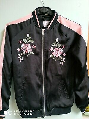 Girls embroidered satin bomber jacket age 13