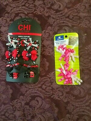 CHI For Dogs.  Bow & Clip Set & Top Paw Pink Hair Bows!  NWT